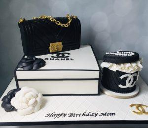 Fashionista cake Chanel hatbox purse handbag